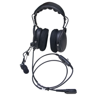 Dual Muff Over-the-Head Headset with Inline Push-to-Talk