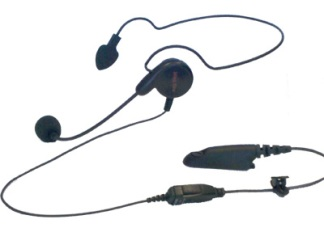 Behind-the-Head Style Receiver with Boom Microphone and In-Line PTT Switch